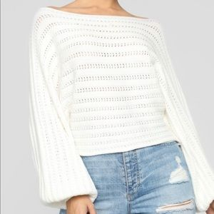 Cropped white sweater- NWT